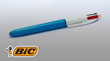 logo bic avec une stylo à 4 couleurs
