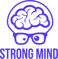 Logo Strong Mind : personnage avec un cerveau et des lunettes