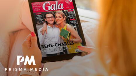 Logo Prisma Media avec la photo d'une femme regardant une tablette avec la couverture du magazine Gala