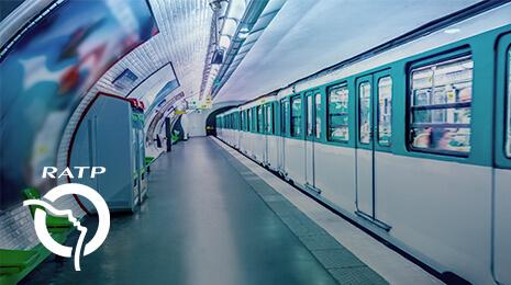 Logo RATP avec la vue d'une rame de métro