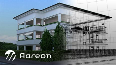 Logo Aareon avec un visuel d'un immeuble en création virtuelle