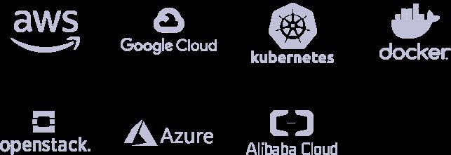 logos des certifications : AWS, Google Cloud, Kubernetes, Docker, Openstack, Azure, Alibaba Cloud