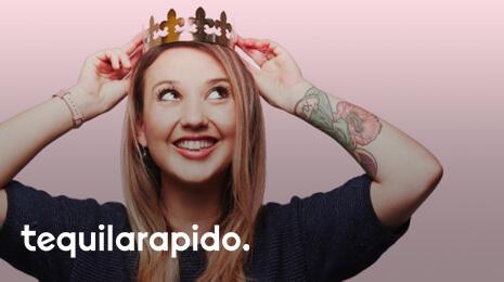 Logo TequilaRapido avec la photo d'une jeune fille avec une couronne dorée