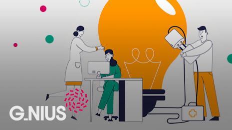 visuel G-nius : dessin représentant 3 personnes : 1 à un bureau, 1 autre debout, 1 autre entrain rebrancher des fiches électriques
