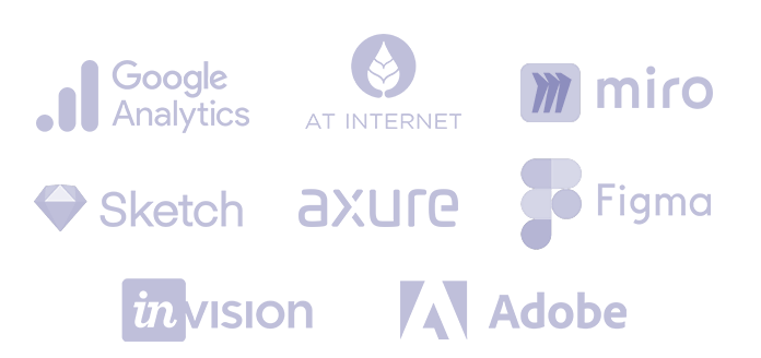 pèle-mêle de logos Google analytics, AT Internet, Miro, Sketch, Axure, Figma, Invision, Adobe