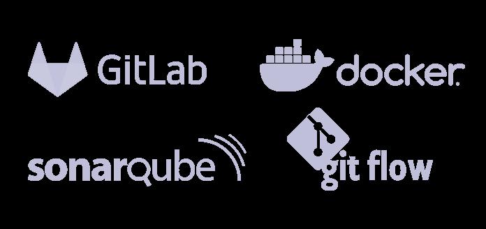 pèle-mêle de logos Gitlab docker Sonarque git Flow