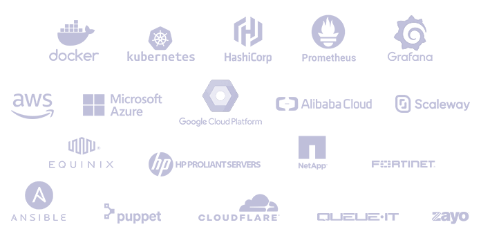 Pèle-mêle logos docker, Kubernetes, Hashicorp, AWS, Microsoft Azure, Google Cloud Platforme, Alibaba Cloud, Scaleway,