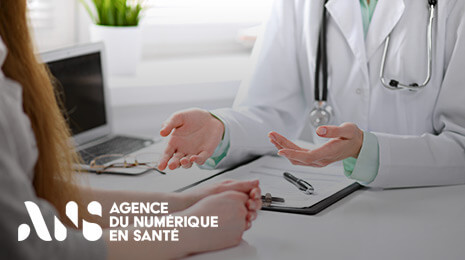 visuel agence du numérique en santé : médecin face à un patient