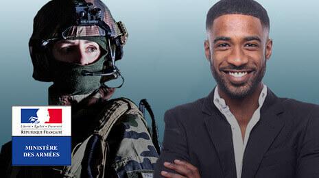 visuel du Ministère des Armées avec un soldat et un civil