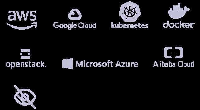 logos des certifications : AWS, Google Cloud, Kubernetes, Docker, Openstack, Azure, Alibaba Cloud, Accessibilité